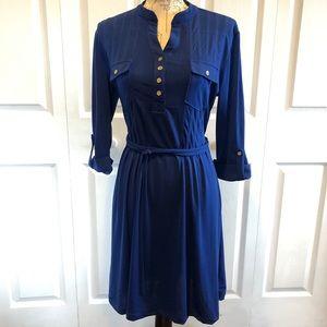 Blue 3/4 sleeve dress w/gold buttons